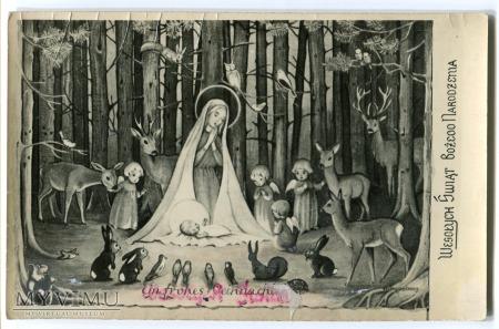 Duże zdjęcie Wesołych Świąt PRL Karta Maryja Dzieciątko