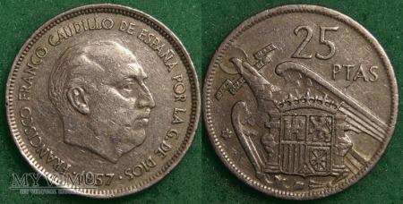 Hiszpania, 25 PESETAS 1957