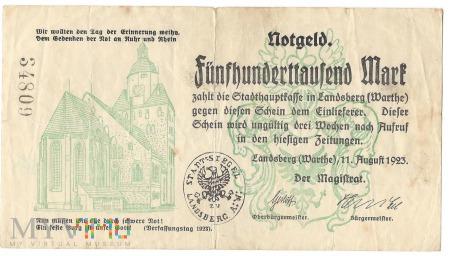 Fünfhunderttausend Mark - Landsberg a.d.Warthe