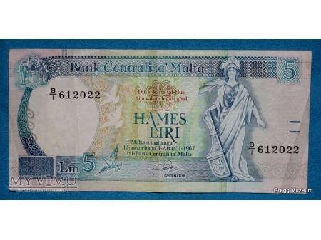 Duże zdjęcie 5 Lirów maltańskich